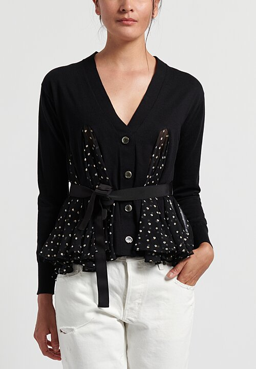 Sacai Polka Dot Cardigan in Black