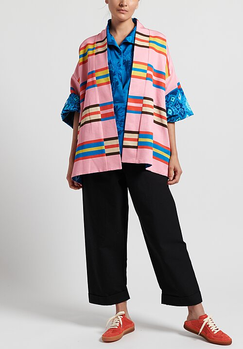 Rianna + Nina Cotton Blend Reversible Loukoumi Editha Jacket in Blue/ Pink