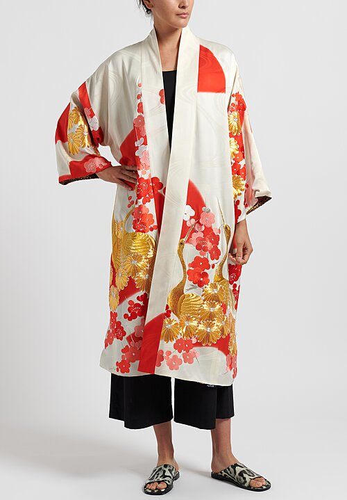 Rianna & Nina Silk One-Of-A-Kind Reversible Vintage Kimono Coat in White/ Red
