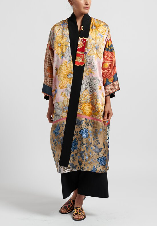 Rianna & Nina Silk One-Of-A-Kind Reversible Vintage Kimono Coat in Orange/ Black