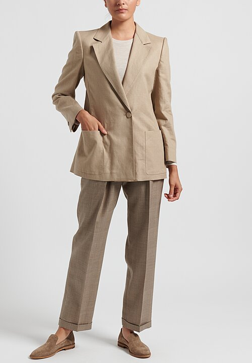Agnona Linen/Cotton Blazer in Tan