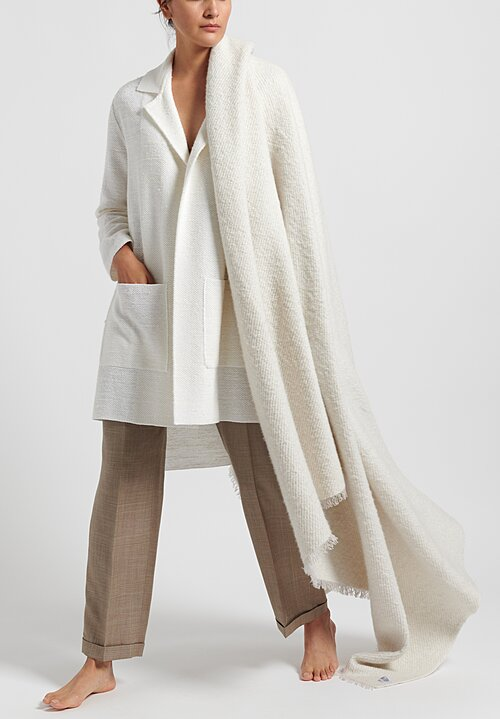 Agnona Linen/Silk Tramato Stitch Belted Jacket in White