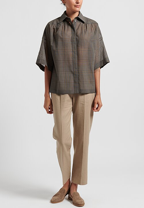 Agnona Wool/Silk Voile Check Shirt in Brown/Grey