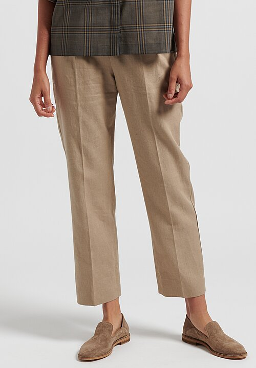 Agnona Linen/Cotton Twill Long Formal Pants in Tan