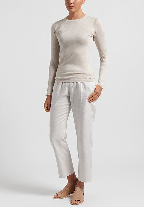 Agnona Linen/Cotton Twill Long Formal Pants in Cream