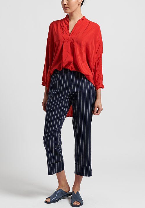 Peter O. Mahler Cotton/Linen Straight Striped Pants in Navy