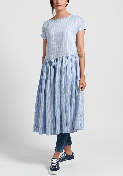 Casey Casey Linen/Silk Striped Pasha Rouch Dress