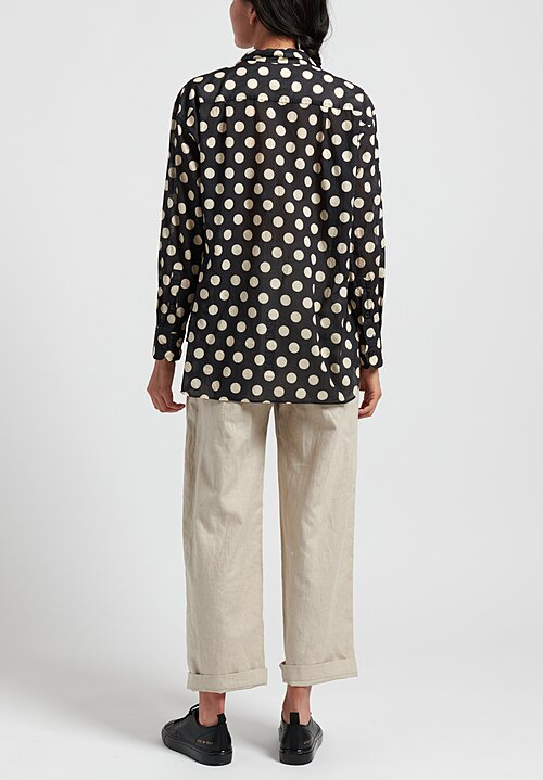 Casey Casey Polka Dot Shirt in Ecru/ Navy