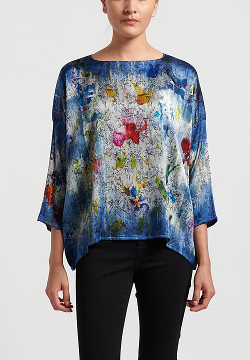 Avant Toi Silk 3/4 Sleeve Floral Tapestry Top in Denim