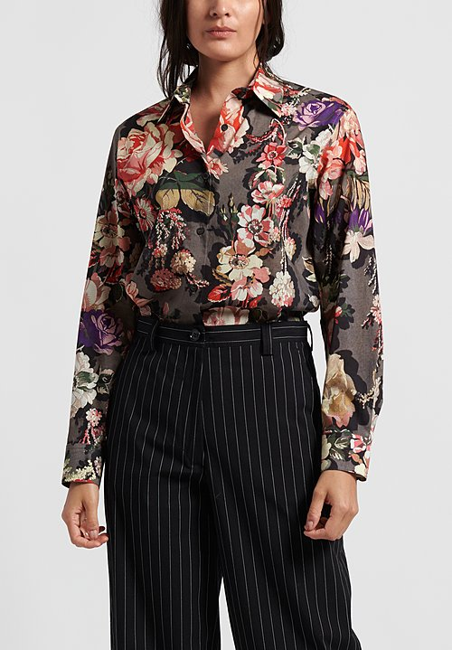 Dries van Noten Clavelly Shirt in Grey Floral