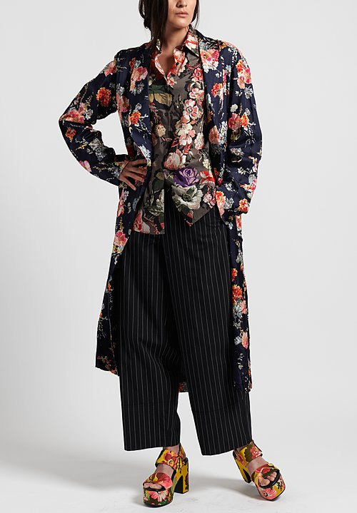 Dries Van Noten Charly Embroidered Coat in Navy