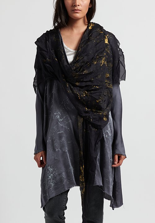 Jaga Painted Asymmetrical Scarf in Black/ Gold