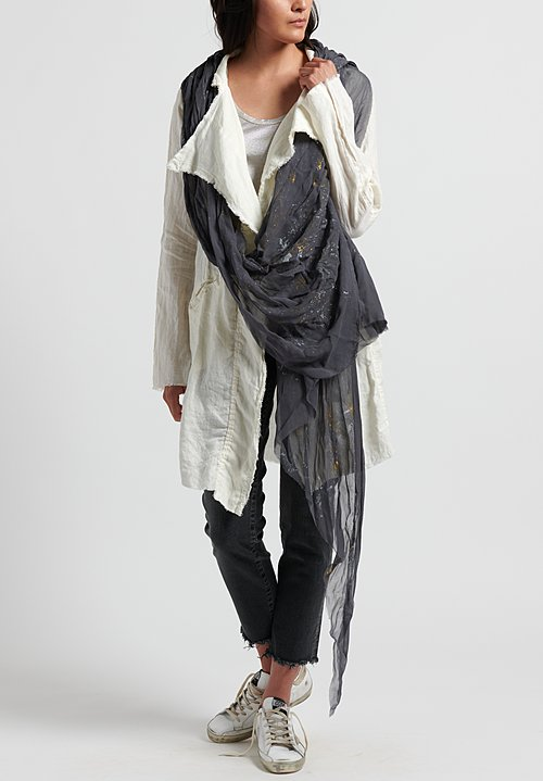 Jaga Painted Asymmetrical Scarf in Grey/ Gold