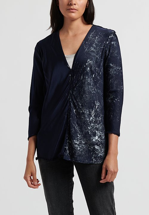 Jaga Silk V Neck Top in Navy/ Silver