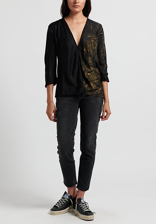 Jaga Silk V Neck Top in Black/ Gold