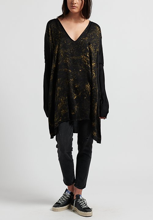 Jaga Silk Long Sleeve Tunic in Black/ Gold
