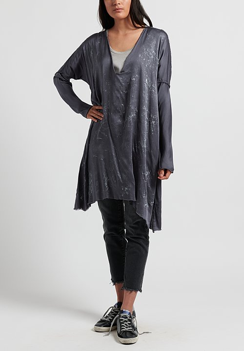 Jaga Silk Long Sleeve Tunic in Grey/ Silver