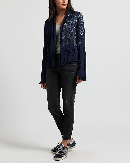 Jaga Silk Short Jacket in Navy