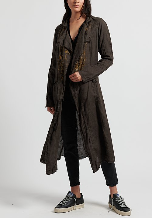 Jaga Painted Linen Coat in Grey/ Gold
