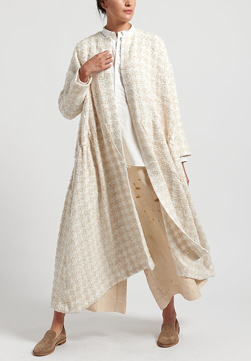 kaval Homespun Washi Silk Houndstooth Open Front Jacket