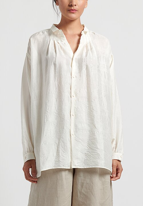 kaval Silk Gather Blouse in Natural