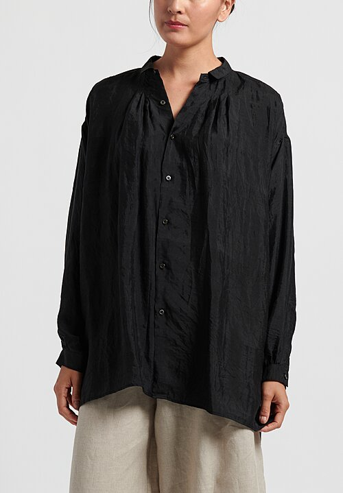 kaval Silk Gather Blouse in Black