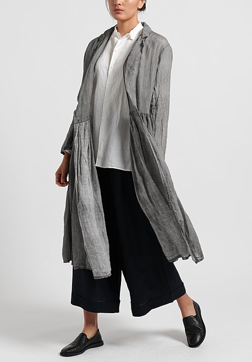 kaval Linen Simple Stitch Shirt in Off-White