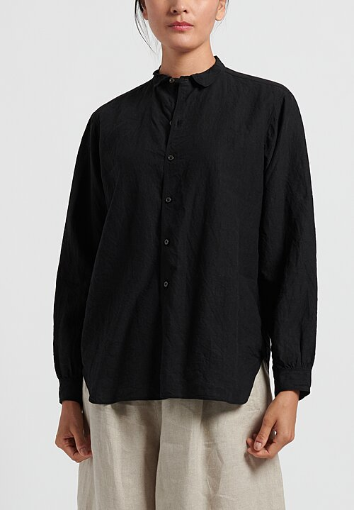 kaval Linen Simple Stitch Shirt in Black