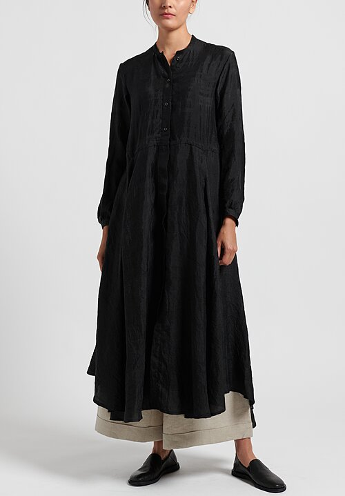 kaval Silk Semi-Fitted Tunic Dress in Black