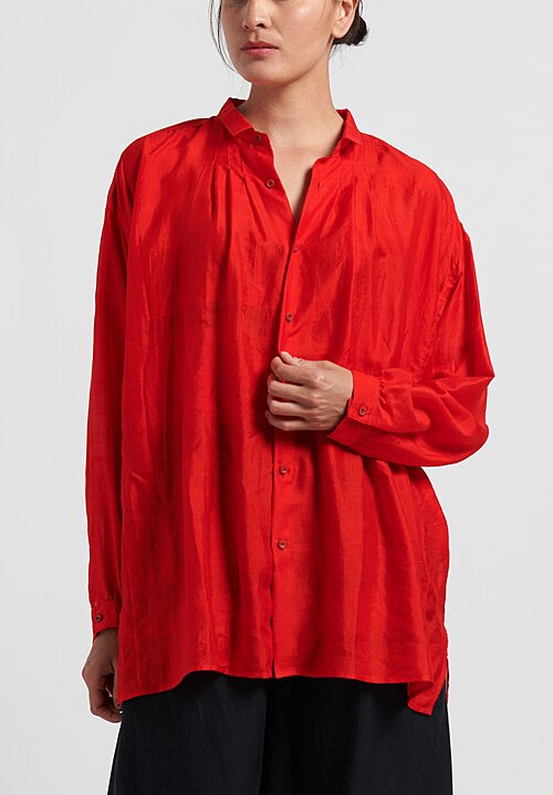 kaval Wide Gathered Blouse in Red