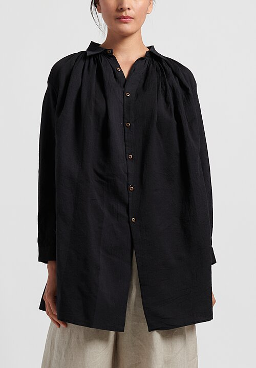 kaval Cotton/Silk Poncho Blouse in Black