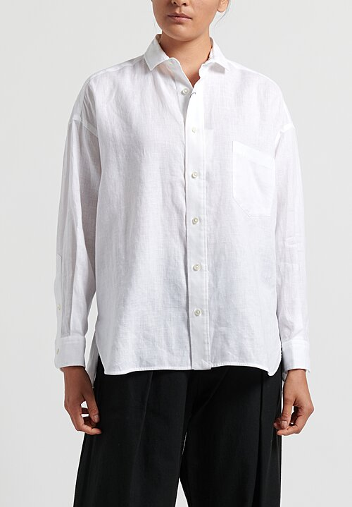 Ticca Linen Single Pocket Shirt in White