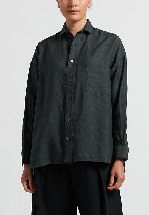 Ticca Linen Single Pocket Shirt in Khaki