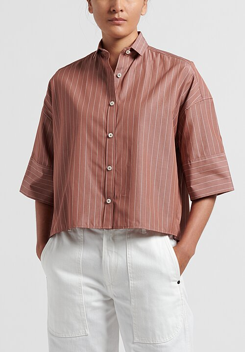 Ticca Cotton Pencil Stripe Shirt in Brown