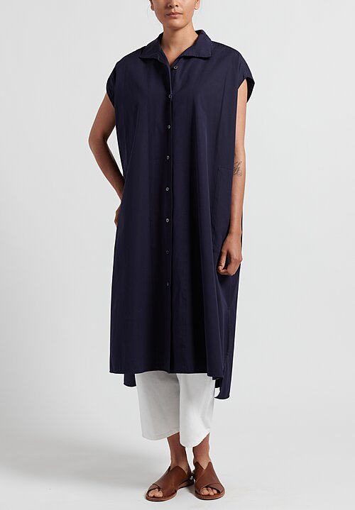 Ticca Cotton Sleeveless Dress in Dark Navy
