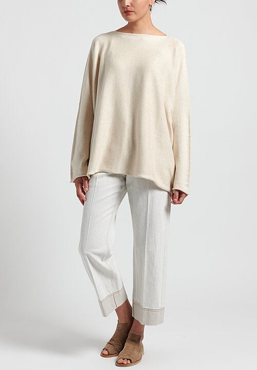 Lauren Manoogian Pima Cotton/Mulberry Silk Horizontal Boatneck Sweater