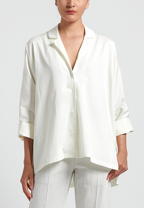 Lauren Manoogian Cotton Dormer Shirt in Ivory