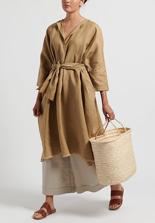 Daniela Gregis Linen Oversized Dress in Dark Natural