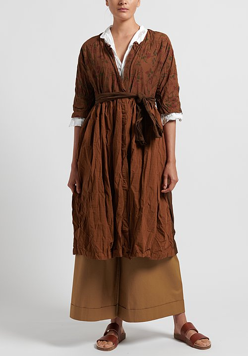 Daniela Gregis Washed Long Patchwork Jacket in Brown