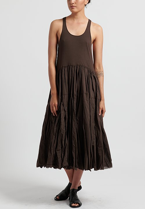 Rundholz Dip Cotton Ribbed and Gathered Tank Dress