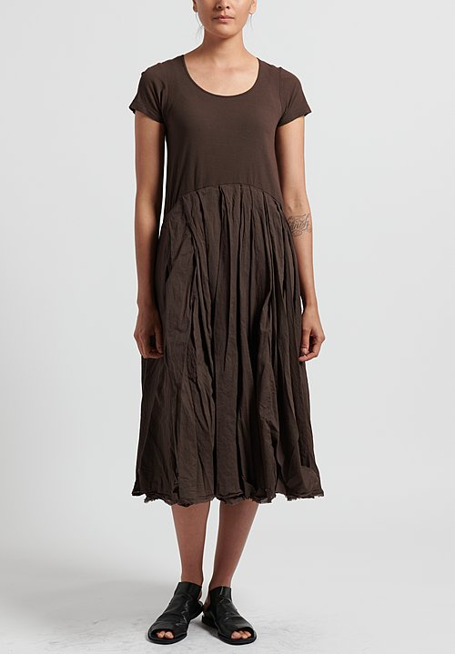 Rundholz Dip Ribbed and Pleated Short Sleeve Dress in Rust