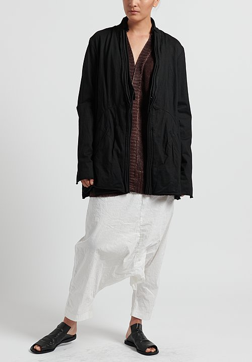 Rundholz Dip Cotton Layered Rolled Edge Jacket in Black