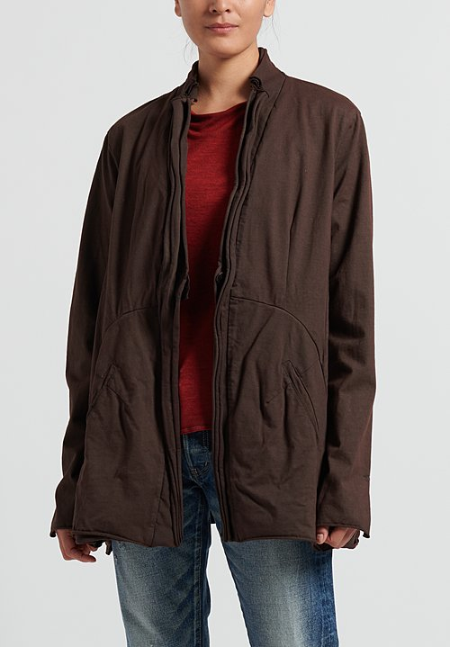 Rundholz Dip Cotton Layered Rolled Edge Jacket in Rust