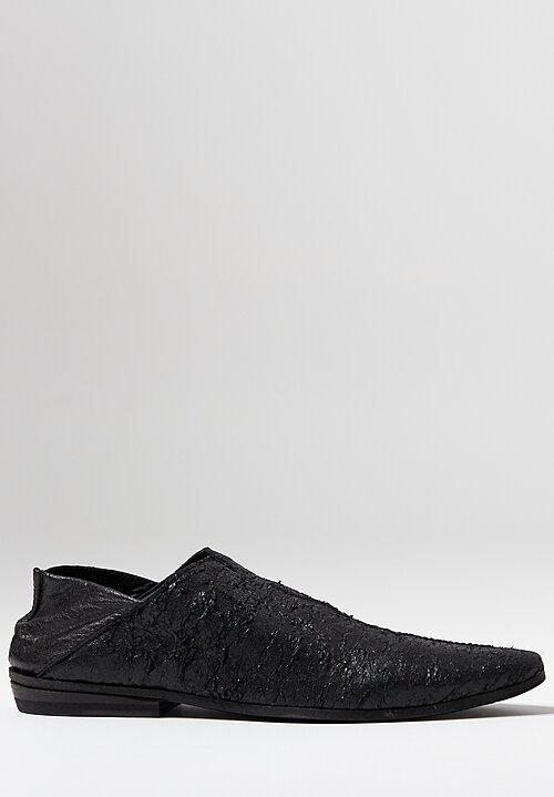 Rundholz Textured Pointed Loafer in Genius Black