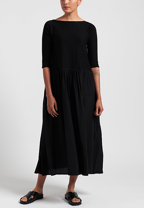 Daniela Gregis Long Cotton/ Silk Knitted Dress in Black