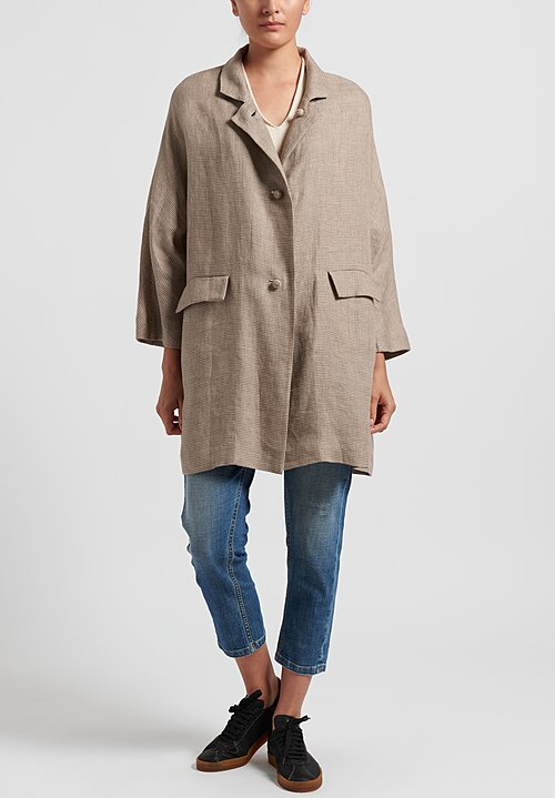 Daniela Gregis Linen Honey Poppy Coat in Natural