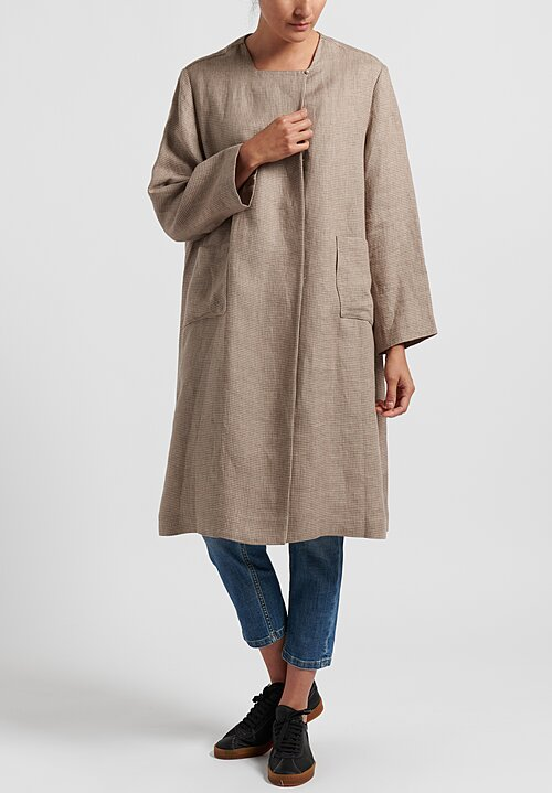 Daniela Gregis Linen Neckless Honey Coat in Natural Houndstooth