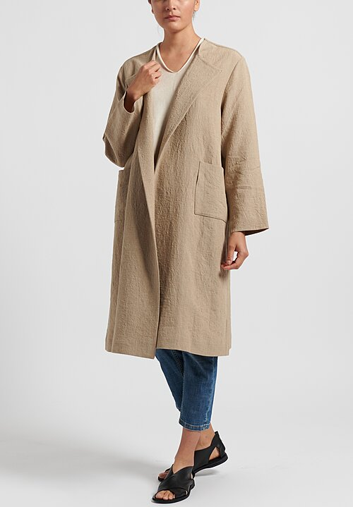 Daniela Gregis Linen Neckless Honey Coat in Natural
