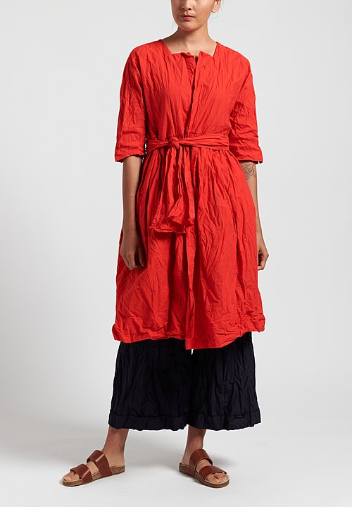 Daniela Gregis Washed Alve Long Jacket in Red