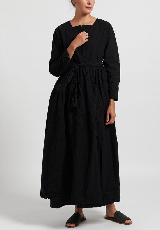 Daniela Gregis Cotton Washed Alve Long Jacket in Black